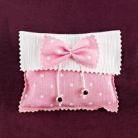 Φακελάκι με Ροζ Πουά Φιογκάκι για Μπομπονιέρα Βάπτισης