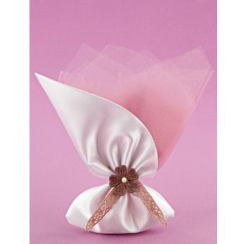 Μπομπονιέρα Γάμου Σατέν Πουγκί Λοξό με Λουλούδι σε Σάπιο Μήλο