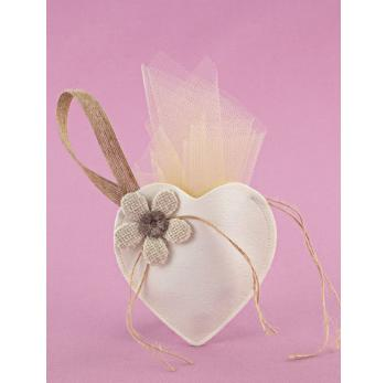 Μπομπονιέρα Γάμου Καρδιά-Θήκη από Δερματίνη με Λουλούδι
