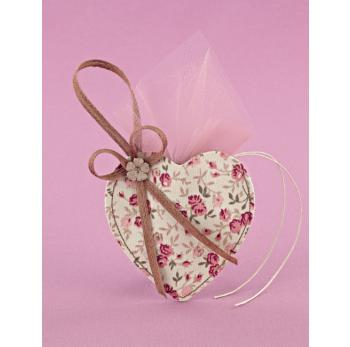 Κρεμαστή Μπομπονιέρα Γάμου Καρδιά-Θήκη Φλοράλ