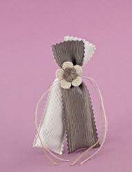 Μπομπονιέρα Γάμου Διπλό Πουγκί Εκρού-Λαδί
