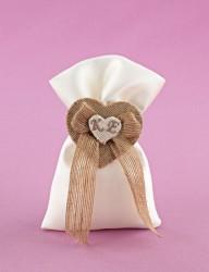 Μπομπονιέρα Γάμου Πουγκί Σατέν με Διπλή Καρδιά από Λινάτσα