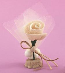 Επιτραπέζια Μπομπονιέρα Γάμου με Ακρυλική Βάση και Λουλουδάκι από Γάζα