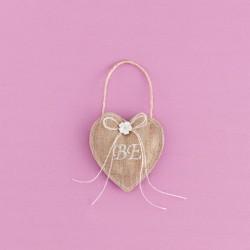 Καρδιά Λινάτσας με Κεντημένα Μονογράμματα για Μπομπονιέρα Γάμου