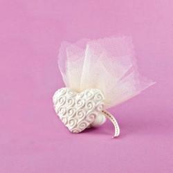 Επιτραπέζια Καρδιά με Ανάγλυφα Σχέδια για Μπομπονιέρα Γάμου