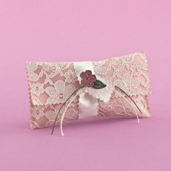 Φακελάκι για Μπομπονιέρα Γάμου με Δαντέλα και Πλεκτό Λουλουδάκι