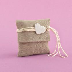 Μπομπονιέρα για Γάμο Βαμβακερό Φακελάκι με Υφασμάτινη Καρδιά
