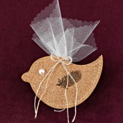 Μπομπονιέρα Βάπτισης Πουλί με Φτερό από Φελλό