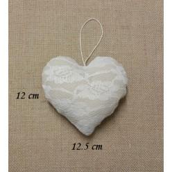 Φουσκωτή Κρεμαστή Καρδιά από Ύφασμα Βαμβακερό με Δαντέλα
