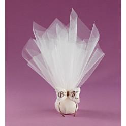 Τούλι με Φιογκάκι Φουσκωτό και Μονογράμματα για Μπομπονιέρα Γάμου