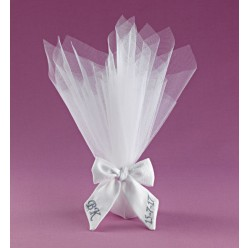 Τούλι με Κορδέλα Φιόγκο για Μπομπονιέρα Γάμου