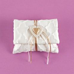 Σατέν Εκρού Φακελάκι με Χρυσή Καρδούλα για Μπομπονιέρα Γάμου