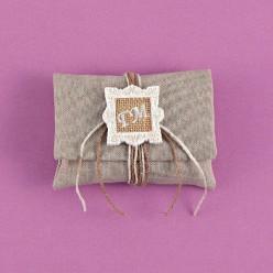 Φάκελος Γκρι με Ακρυλική Κορνίζα και Μονογράμματα για Μπομπονιέρα Γάμου