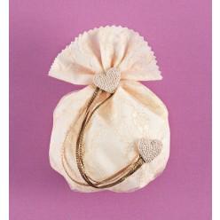 Πουγκί Εκρού Στρογγυλό με Διακοσμητικές Καρδούλες για Μπομπονιέρα Γάμου