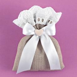 Πουγκί Λινό Γκρι με Δαντέλα Κιπούρ για Μπομπονιέρα Γάμου