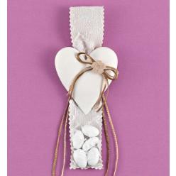 Καρδιά Ακρυλική με Ύφασμα και Δαντέλα για Μπομπονιέρα Γάμου