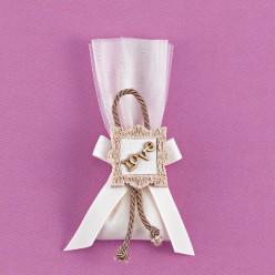 Μπομπονιέρα Γάμου Τούλι και Ακρυλική Κορνίζα με Ξύλινο Love