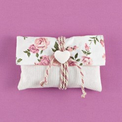 Λινός Φάκελος Εκρού με Floral Φάσα για Μπομπονιέρα Γάμου