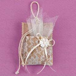 Κρεμαστή Τσέπη από Λινάτσα και Δαντέλα για Μπομπονιέρα Γάμου