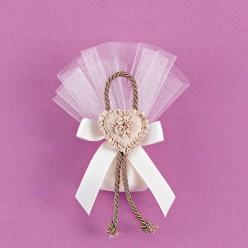 Τούλινη Μπομπονιέρα Γάμου Μικρό Μέγεθος με Μπεζ Καρδιά Ακρυλική