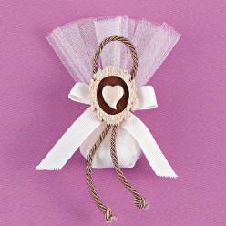 Μπομπονιέρα Γάμου από Τούλι και Ακρυλική Κορνίζα με Καρδούλα