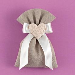 Γκρι Πουγκί Λινό με Ανάγλυφη Καρδιά για Μπομπονιέρα Γάμου