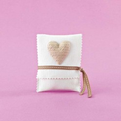 Μπομπονιέρα Γάμου Φάκελος Πικέ με Ακρυλική Καρδιά