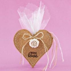 Μπομπονιέρα Γάμου Καρδιά από Φελλό με Ακρυλικό Λουλουδάκι