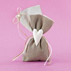 Μπομπονιέρα Γάμου Πουγκί με Δυο Υφάσματα και Ακρυλική Καρδία