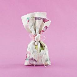 Πουγκί Φλοράλ με Ακρυλικό Περιστέρι για Μπομπονιέρα Γάμου