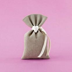 Πουγκί Λινό με Ακρυλική Αρωματική Καρδιά για Μπομπονιέρα Γάμου