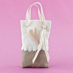 Μπομπονιέρα Γάμου Τσαντάκι με Ακρυλική Καρδιά Άμμου