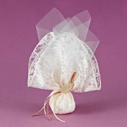 Μπομπονιέρα Γάμου με Δαντέλα και Ακρυλικό Φύλλο