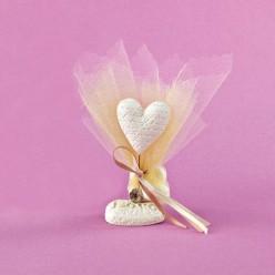 Επιτραπέζιο Διακοσμητικό με Καρδιά και Πλεκτό Λουλουδάκι για Μπομπονιέρα Γάμου