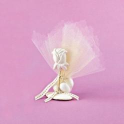Επιτραπέζιο Διακοσμητικό Ακρυλικό με Τριαντάφυλλο για Μπομπονιέρα Γάμου