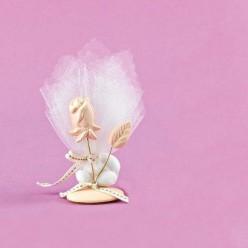 Επιτραπέζιο Διακοσμητικό με Τριαντάφυλλο για Μπομπονιέρα Γάμου