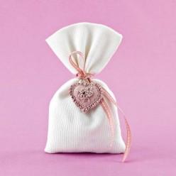 Μπομπονιέρα Γάμου Πουγκί Πικέ με Ακρυλική Καρδιά