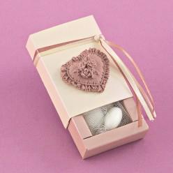 Γυαλιστερό Κουτάκι με Καρδιά Αρωματική Ακρυλική για Μπομπονιέρα Γάμου