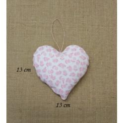 Φουσκωτή Κρεμαστή Καρδιά από Ύφασμα Ροζ Φλοράλ