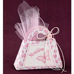 Τσαντάκι-Κουτί με Ροζ Κέντημα για Μπομπονιέρα Βάπτισης