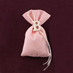 Ροζ Πουγκάκι με Μονόγραμμα Ακρυλικό για Μπομπονιέρα Βάπτισης