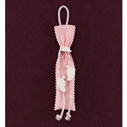 Ροζ Πουγκί Στενό με Διακοσμητικά Ακρυλικά Πατουσάκια για Μπομπονιέρα Βάπτισης