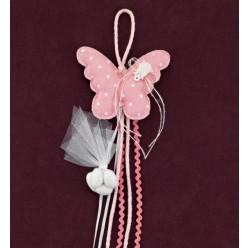 Πεταλούδα Μαξιλαράκι Ροζ Πουά για Μπομπονιέρα Βάπτισης