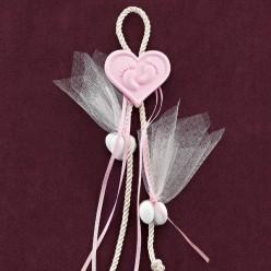 Ακρυλική Ροζ Καρδιά με Πατουσάκια για Μπομπονιέρα Βάπτισης