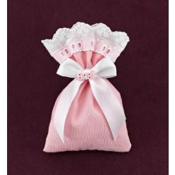 Πουγκί Ροζ με Κιπούρ Δαντέλα για Μπομπονιέρα Βάπτισης