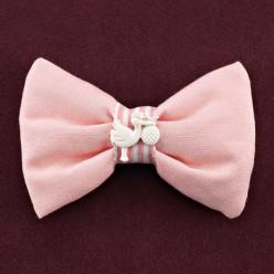 Υφασμάτινη Μπομπονιέρα Βάπτισης Ροζ Φιόγκος με Διακοσμητικό Πελαργό
