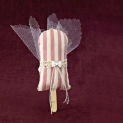 Βαπτιστική Μπομπονιέρα Παγωτό Ξυλάκι Ριγέ με Φιογκάκι