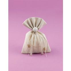 Μπομπονιέρα Γάμου Πουγκί από Ύφασμα Φλάμα