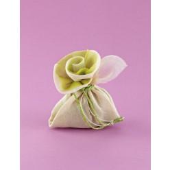 Μπομπονιέρα Γάμου σε Σχήμα Λουλουδιού Εκρού-Λαχανί