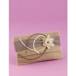 Μπομπονιέρα Γάμου Φάκελος από Ύφασμα Λινάτσα